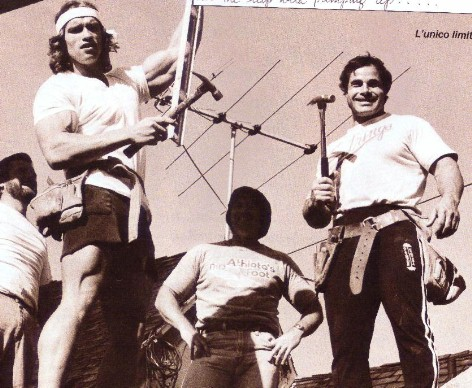 Arnold Schwarzenegger and Franco Columbu with hammers.