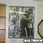 Photo of Arnold Schwarzenegger and Joe Gold in World Gym lobby