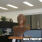 Joe Gold Bust on stand in officeat Marina Del Rey World Gym