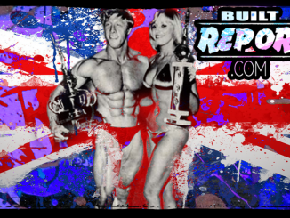 Built Report, British Bodybuilder Tony Emmott Standing next to beautiful fitness model.