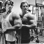 Photo od Ken Waller and Arnold Schwarzenegger taken during the filming of Pumping Iron