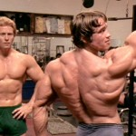 Ken Waller and Arnold Schwarzenegger in a scene from Pumping Iron