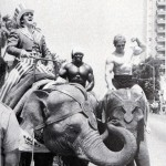 Dave Dupre and Ken Waller ride elephants