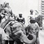 Dave Dupre and Ken Waller ride elephants