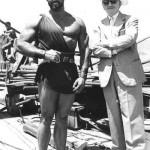 Steve Reeves on the set of Hercules