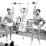 Steve Reeves on the set of Athena