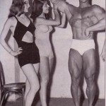 Steve Reeves with Supermodels of the day.