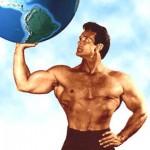 Steve Reeves posing as Atlas.