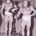 Steve Reeves poses with fellow bodybuilder Alan Stephan