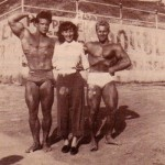 Steve Reeves with possible beatnik lady.