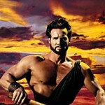 Steve Reeves as Hercules rows a ship