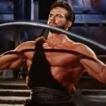 Steve Reeves with a show of strength in Hercules
