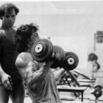Franco Columbu trains Sylvester Stallone.