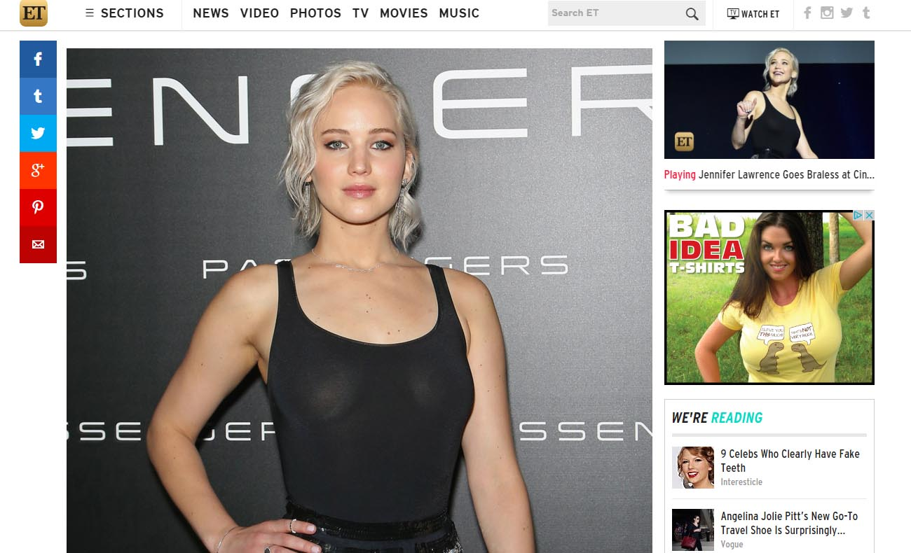 Jennifer Lawrence Braless Passengers