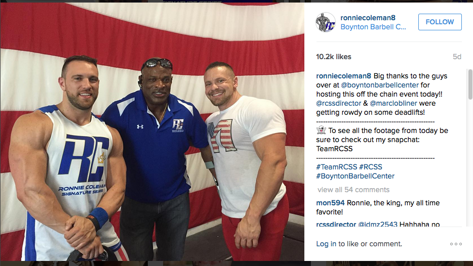 Derek Ciocca, Ronnie Coleman, and Mark Lobliner