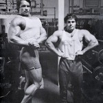 Arnold Schwarzenegger and Franco Columbu at Golds Gym in Venice California.