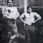 Arnold Schwarzenegger and Franco Columbu at Golds Gym in Venice California.